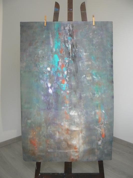 """""""Paysage abstrait"""" Papier ARCHES Format 70x100 Acrylique, gouache, encre de Chine Théo Lerebourg, Août 2017"""
