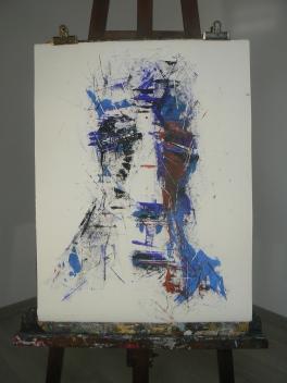 """Série de visages """" Les boxeurs """" Format 50x65cm Papier ARCHES Peinture à l'huile Août 2017 Théo LEREBOURG"""