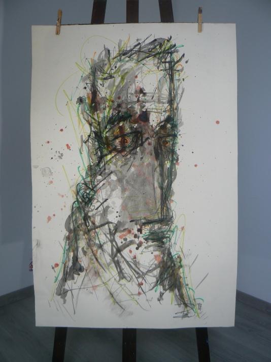 """""""Visages crayonné"""" Papier ARCHES 70x100 Acrylique, Gouache, Encres, Crayon de bois, Marqueurs, Fusain Août 2017 Théo LEREBOURG"""