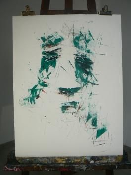 """"""" Vert boisé """" Format 50x65cm Papier ARCHES Peinture à l'huile Août 2017 Théo LEREBOURG"""