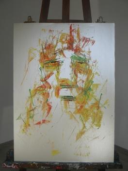 """"""" Visage d'argent """" Format 50x70cm Peinture à l'huile Août 2017 Théo LEREBOURG"""