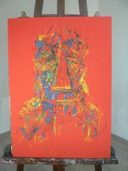 """"""" Visages dans le rouge """" Format 50x70cm Peinture à l'huile Août 2017 Théo LEREBOURG"""