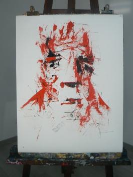 """"""" Rouge Sang """" Format 50x65cm Papier ARCHES Peinture à l'huile Août 2017 Théo LEREBOURG"""