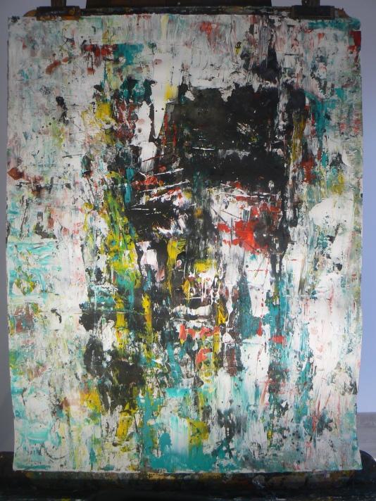 """""""Visages abstraits"""" Papier ARCHES Format 50x65cm Acrylique, gouache, encre de Chine Théo Lerebourg, Août 2017"""