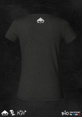 "T-shirt femme noir col en V design "" MIAOW "" by TL"