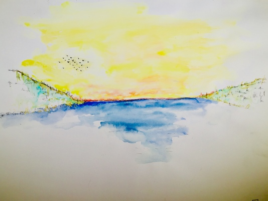 Aquarelle paysage maritime